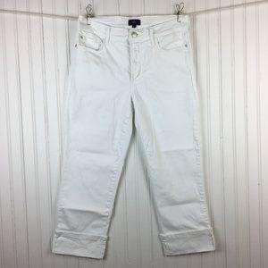 NYDJ Dayla Wide Cuff Capri Jeans Mid-Rise White